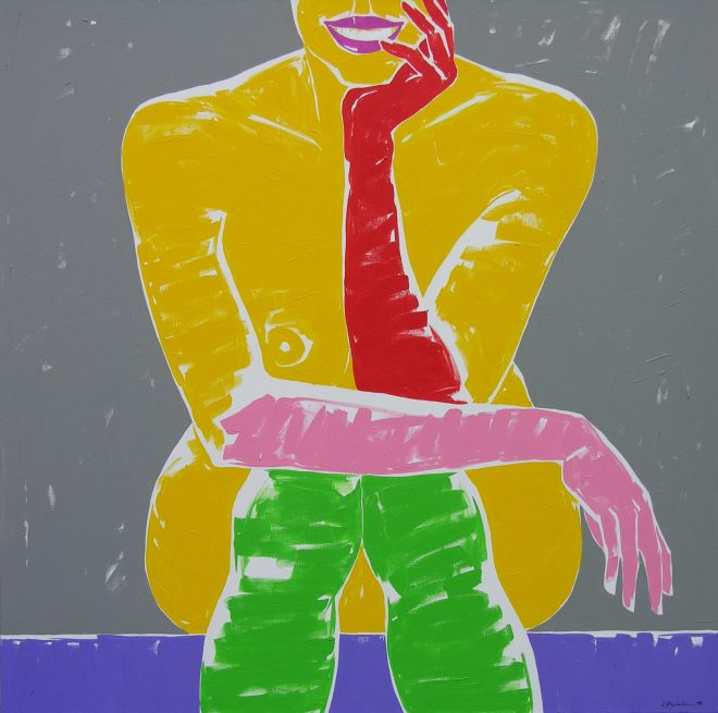 Úsměv; plátno, akryl; 120x120