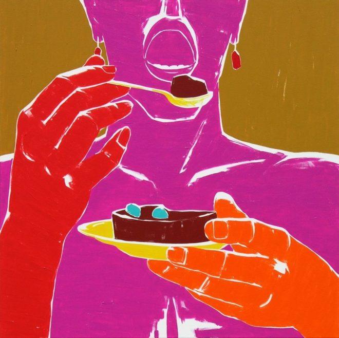 Dobrý dortíček II.; plátno, akryl; 120x120 cm