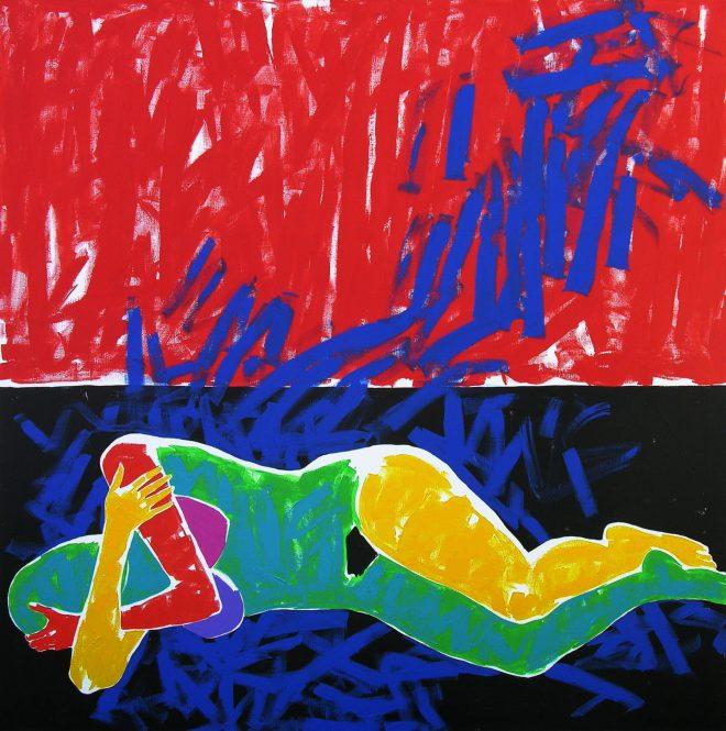 Modrý sen; plátno, akryl; 150x150 cm.
