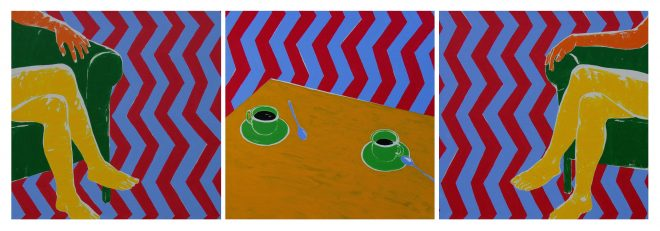 Triptich: Řeči vedou a dobré kafíčko k tomu; plátno,akryl; 70x210 cm