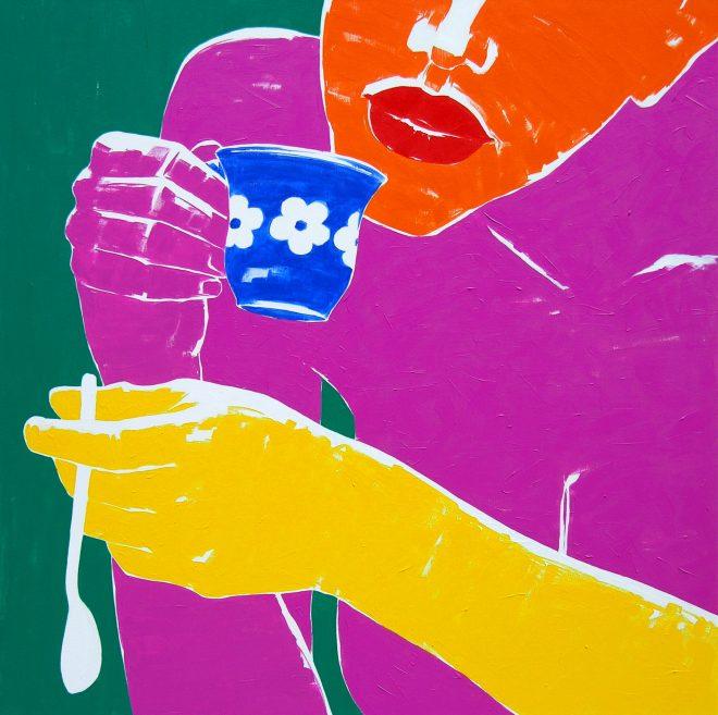 Kafíčko; plátno, akryl; 120x120