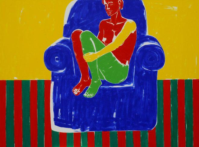 Na modrém křesle; plátno, akryl; 145x195