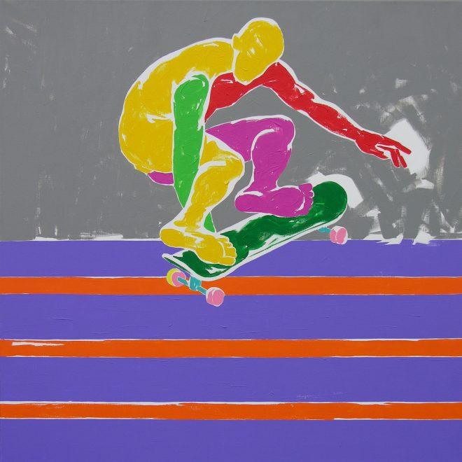 Skate II.; plátno, akryl; 120x120