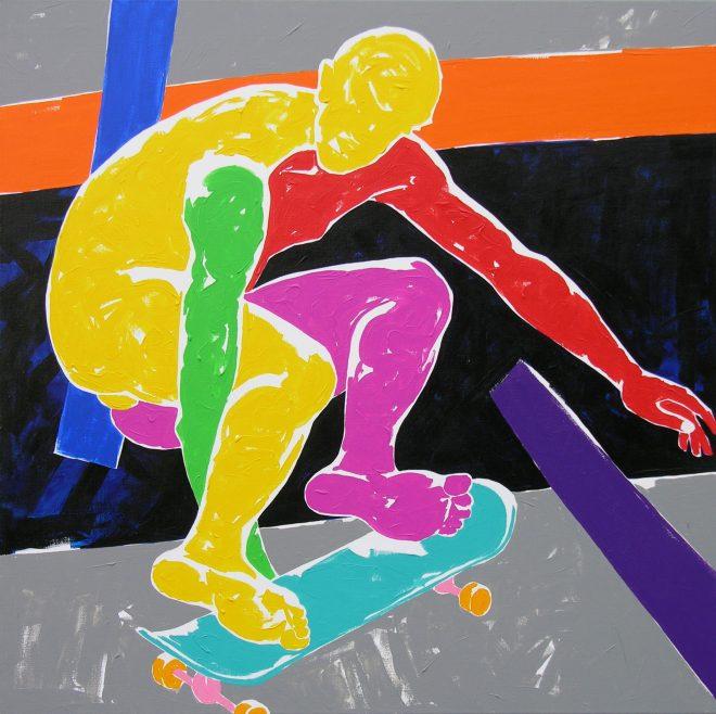 Skate II.;plátno, akryl; 120x120