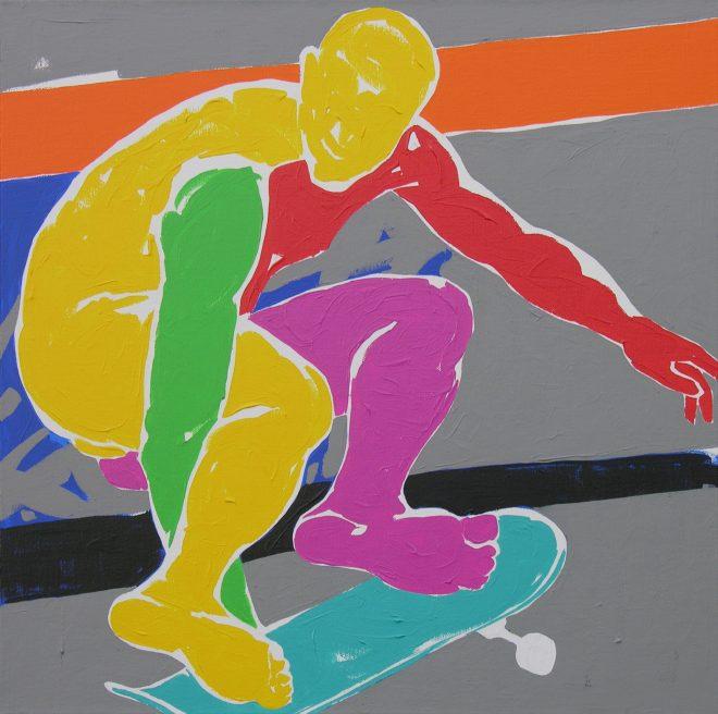 Skate IV.; plátno, akryl, 65x65