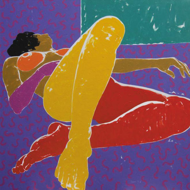 Mám tě plnou hlavu; plátno, akryl; 160×160 cm