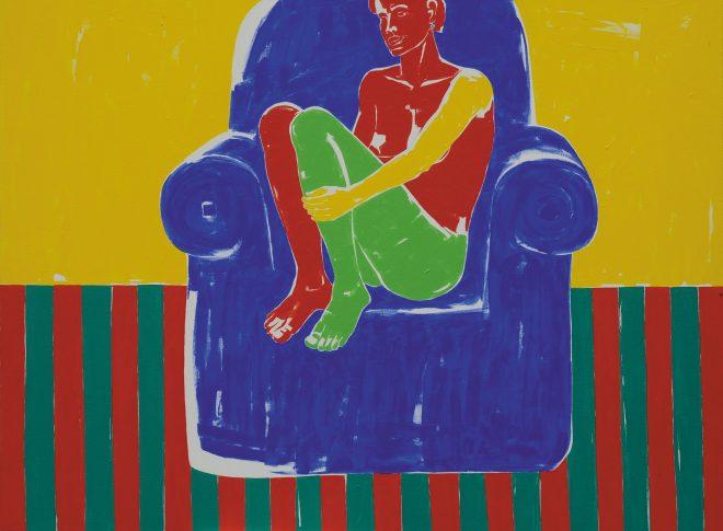 Na modrém křesle; plátno, akyl; 195×150 cm