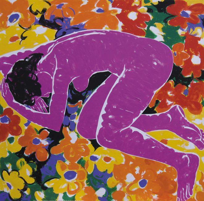 V květinách; plátno, akryl; 160×160 cm