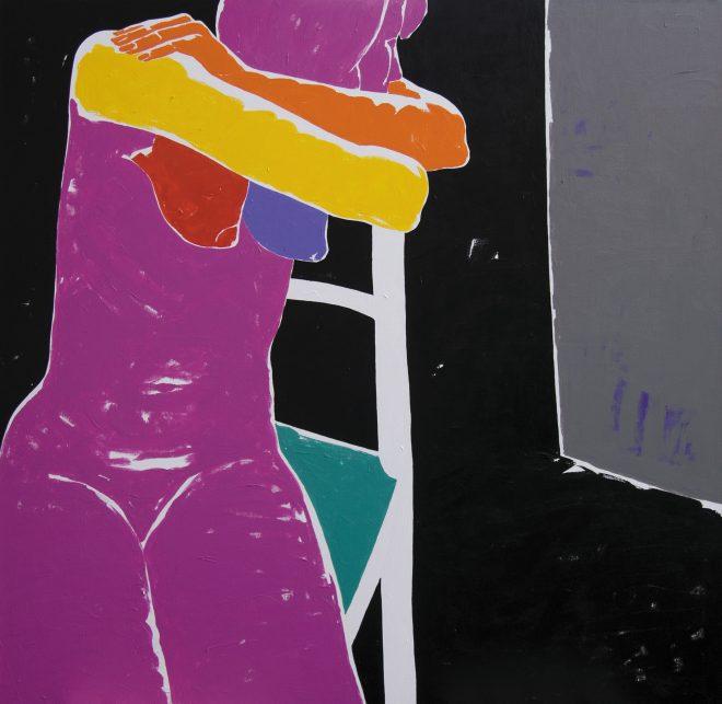 Vzpomíná; plátno, akryl; 160 x 160 cm